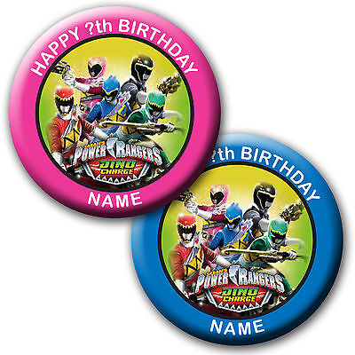 Personalised Power Rangers Dino Charge Birthday Badge/magnets/mirrors