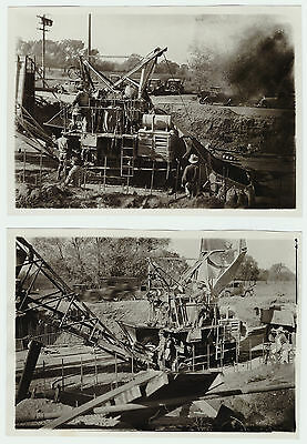 RARE Photo LOT of 2 - Road Construction Lindsay CA 1920s California Industrial