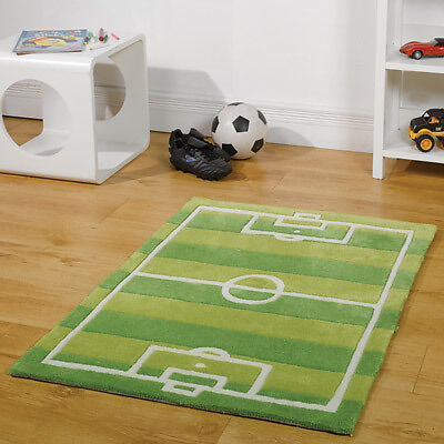Flair Rugs Kiddy Play Football Pitch Childrens Rug, Green, 110 x 160 Cm