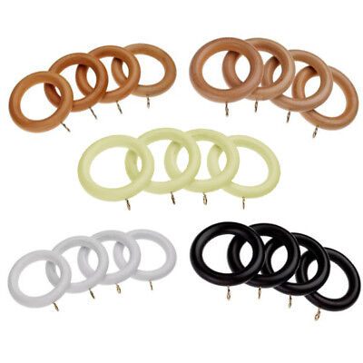 Universal Wooden 28mm Curtain Rings, 4 Pack