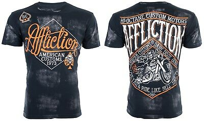 Affliction Mens S/S T-Shirt SIDECAR American Customs BLACK Motorcycle S-3XL $58