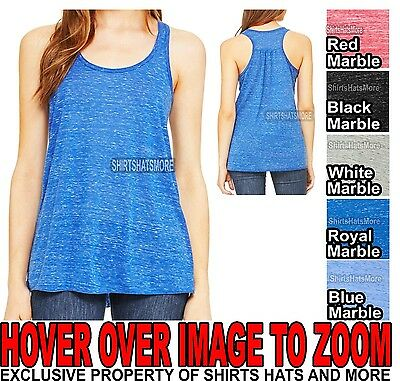babbb34a9 LADIES RACERBACK TANK Top Drapey Fit Marbled Womens S, M, L, XL, 2XL ...