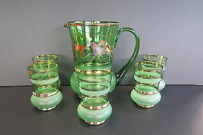 Rare Vintage Green And Gold Water Set With Horse Decorations