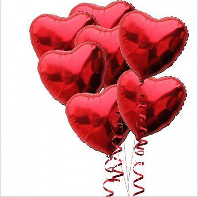 10 Red Heart Foil Helium Balloons Valentines Day Wedding Engagement Decorations