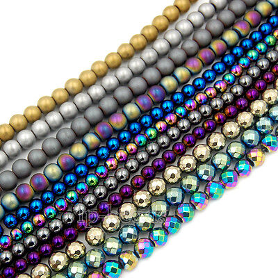 Hematite Gemstone Round Spacer Beads 2mm 3mm 4mm 6mm 8mm Smooth Faceted Matte