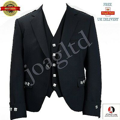 Argyle jacket and Waist coat vest Black color Wool Polyester Mixed size 38 to 52