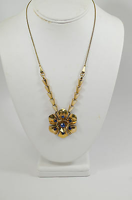 Stunning Barclay Art Deco G.F. Necklace With Blue Rhinestones