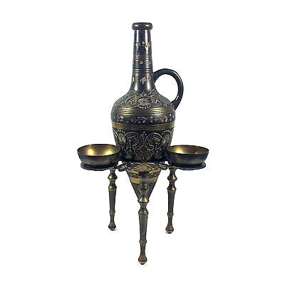 Antique Neoclassical Roman Style Japanned Metal Amphora Urn + Stand + Cups