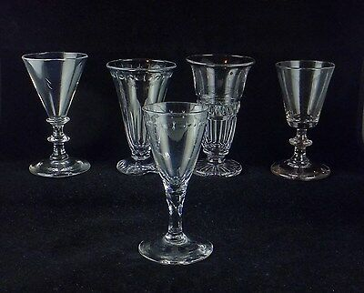 5 Antique Wine Glass Goblets - 3 With Cutting - Trumpet Bowls - Rare