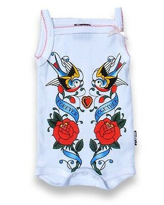 Six Bunnies Baby Onesie White Forever Together Romper Rockabilly Punk Tattoo NEW