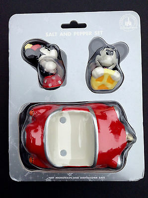 DISNEY Parks SALT and PEPPER Set MICKEY and MINNIE Retro RED CAR 3 Piece NEW