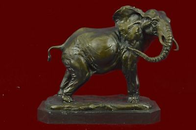 Extra Large Happy Go Lucky Elephant By Statue Figurine Bronze Home Office Decor