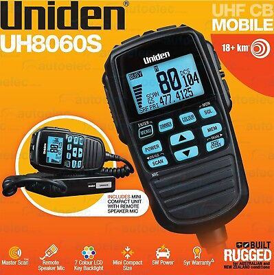 Uniden 80 Channel Uh8060S Uhf Cb Radio 5 Watt Mobile Two Way New Remote Display
