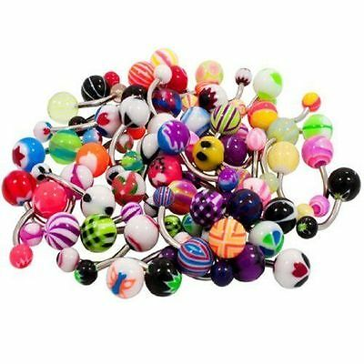 50pcs 14g Acrylic Ball Belly Button Ring Navel Barbell Jewelry Assorted Colors