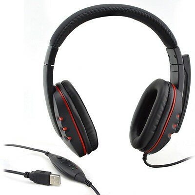 PRO USB Stereo Headphone Microphone MIC GAME Gaming Headset For PS3 PS 3 Laptop