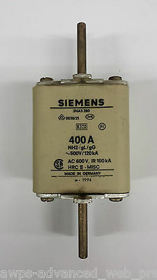 Siemens, 3NA3 260 Fuse, 400A NH2-gL/gG~500V AC600V (Beinh.5St/Lot of 5pcs), USED