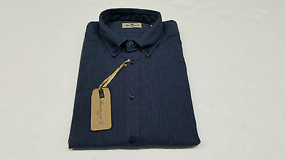 BRANCACCIO men's shirts blu herringbone 100 % cotone flannel wearability re