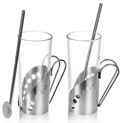 2 4 6 Latte Coffee Tea Glass Cups Hot Drink Mugs With Spoon Straw & Metal Handle