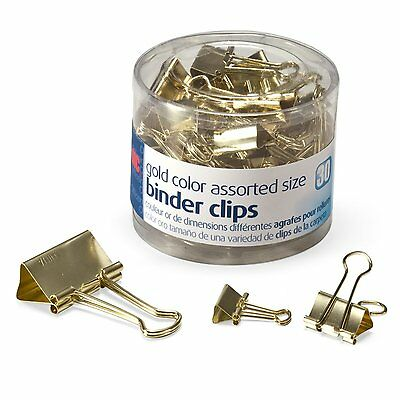 Officemate Binder Clips,Gold, Assorted Sizes30 Clips Tub 31022 Size:1-Pack