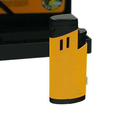 Cohiba Elegant Yellow 3 Torch Jet Flame Cigar Cigarette Metal Lighter With Punch