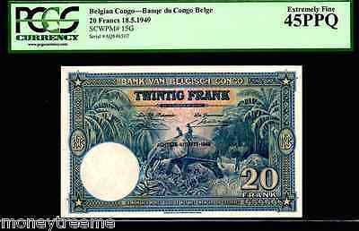 "Belgian Congo P15G ""jungle River- Elephant"" 1949 20 Francs Pcgs 45Ppq! Gorgeous!"