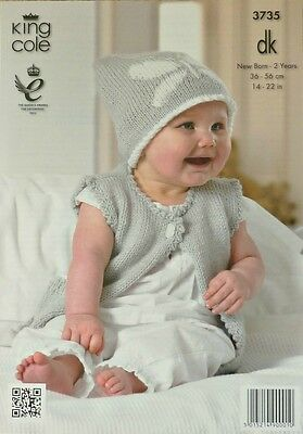 KNITTING PATTERN Baby Sleeveless Waistcoat & Hat with Butterfly design DK 3735