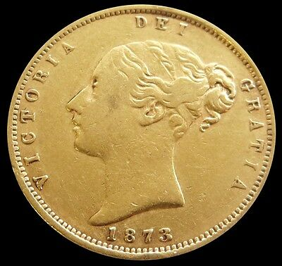 1873 Gold Great Britain Shield Reverse 1/2 Sovereign Coin Die# 113