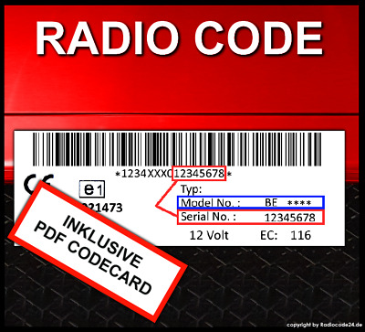 █► Radio Code für BECKER MEXICO CD - MEXICO 2000 - BE0876 - BE0879 - BE1430