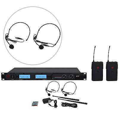 Rockville RWM2202US UHF Wireless Dual Headset Microphone System w/ LCD Display