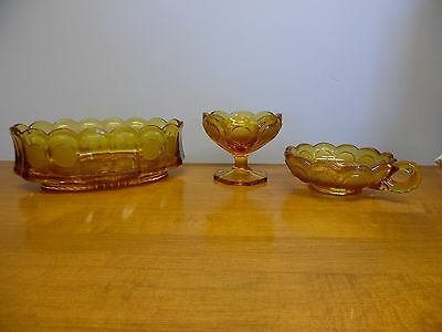 Vintage Amber Fostoria Coin Glass Set of 3 Oval Bowl Compote Dish