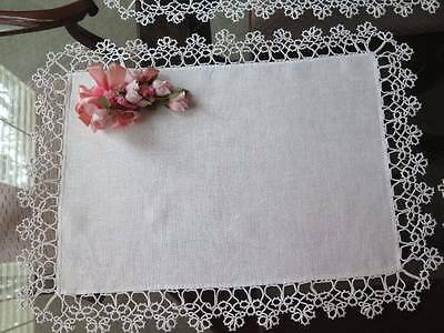 Vintage Linen Tatted Lace Placemat Wide Tatting Large Handmade Tray Cloth