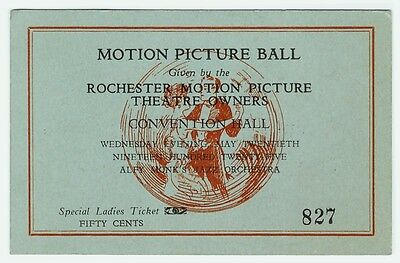 xRARE - Rochester NY Motion Picture Theatre Owners Ball Ticket 1925