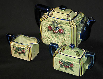 ORCHARDWARE Occupied Japan VINTAGE TEAPOT, CREAMER, SUGAR SET, 5 Pcs-GREAT FIND!