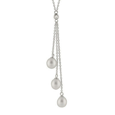 Sterling Silver fancy necklace with 3 danglings 7-8mm rice shape pearls NSR-165