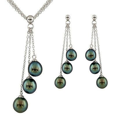 Sterling silver rhodium plated necklace and earrings set, black pearls OSD-208