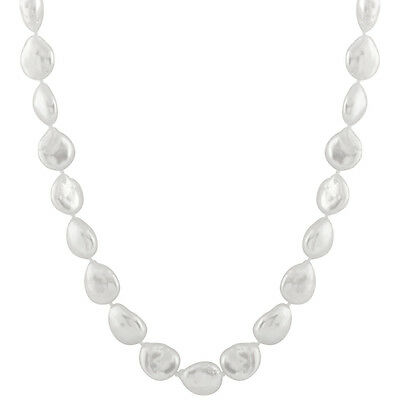 12-13mm White coin shape freshwater pearl necklace, 18'', with ball clasp OSD-51