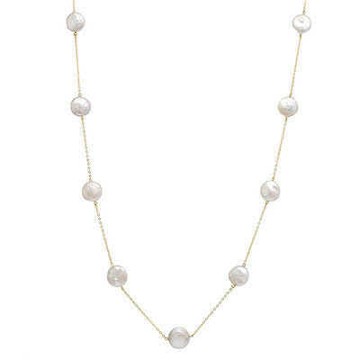 10K Gold Chain Necklace with 9 Coin Shaped 12-13mm Freshwater Pearls PC-9