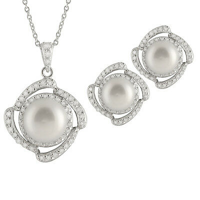 Sterling Silver fancy pendant/chain and earrings, White FW pearls & CZs NESR-126
