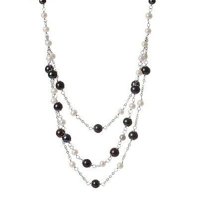 Sterling silver fancy 3 rows necklace with Multicolor freshwater pearls PCSR-17