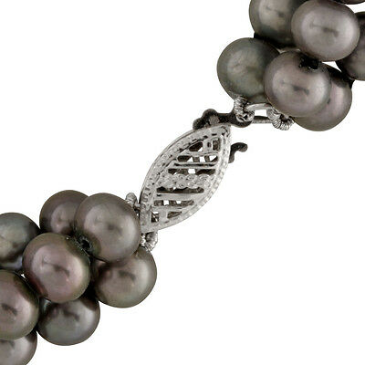 5-6mm 3 rows black potato freshwater pearl necklace, 14k white gold clasp SPG-16