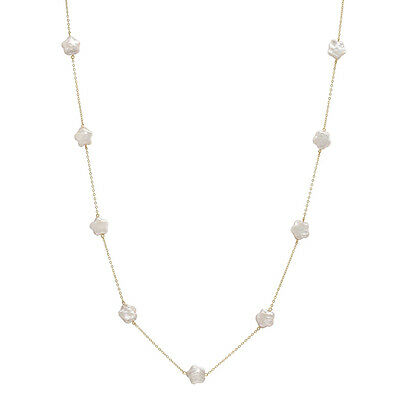 10K Gold Chain Necklace with 9 Pink Star Shaped Coin Freshwater Pearls PC-10