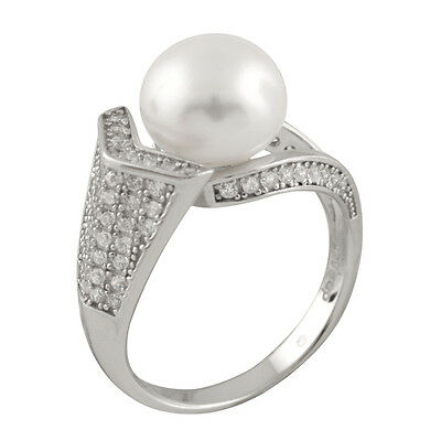 Fancy sterling silver ring with 9-10mm button shape freshwater pearls RS-157