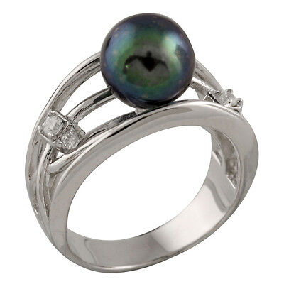 Fancy sterling silver rhodium plated ring and 9-9½mm black round pearl RS-143