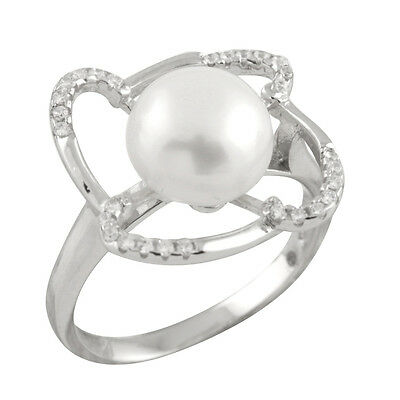 Fancy sterling silver rhodium plated ring with 10-11mm button shape pearl RS-169