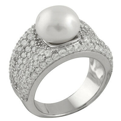 Fancy sterling silver rhodium plated ring, 10-10½mm button shape pearl RS-144