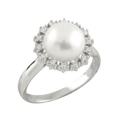 Fancy sterling silver rhodium plated ring with 9-10mm button shape pearl RS-170
