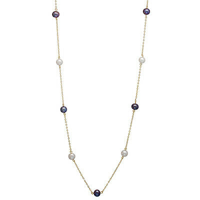 10K Gold Chain Necklace with 10 6-7mm White & Black Freshwater Pearls PC-14