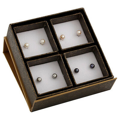Boxed set including 7-7½mm white, natural pink, grey & black pearls studs SET-P
