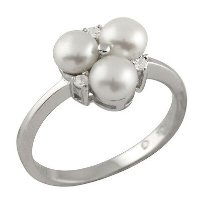 Fancy sterling silver ring with 5-5½mm button shape freshwater pearls RS-151
