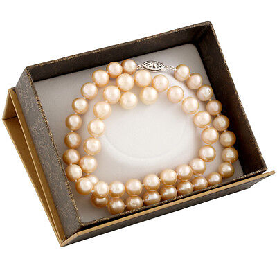 "Boxed 8-8½mm natural pink freshwater pearl necklace, 18"", & matching studs SET-A"